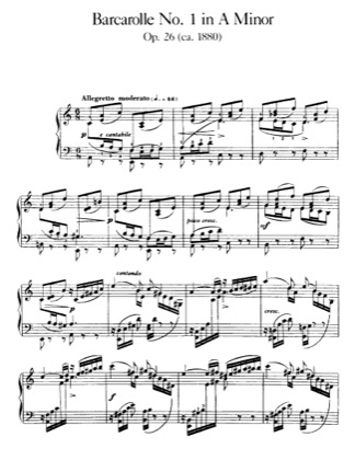 Thumbnail of first page of Barcarolle No.1, Op.26 piano sheet music PDF by Faure.