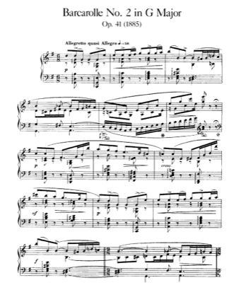 Thumbnail of first page of Barcarolle No.2, Op.41 piano sheet music PDF by Faure.