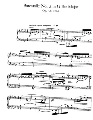Thumbnail of first page of Barcarolle No.3, Op.42 piano sheet music PDF by Faure.