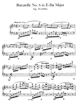 Thumbnail of first page of Barcarolle No.6, Op.70 piano sheet music PDF by Faure.