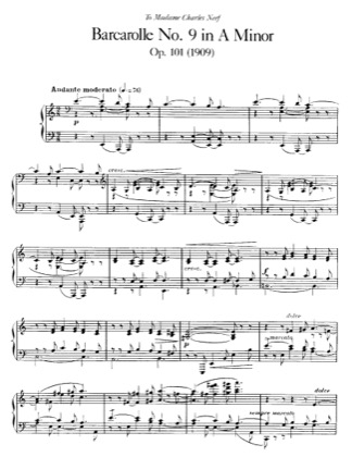 Thumbnail of first page of Barcarolle No.9, Op.101 piano sheet music PDF by Faure.