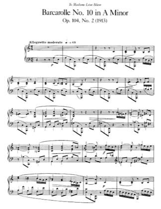 Thumbnail of first page of Barcarolle No.10, Op.104 piano sheet music PDF by Faure.