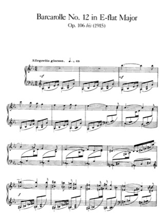 Thumbnail of first page of Barcarolle No.12, Op.106 piano sheet music PDF by Faure.