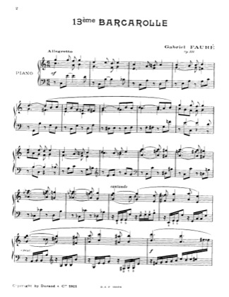 Thumbnail of first page of Barcarolle No.13, Op.116 piano sheet music PDF by Faure.