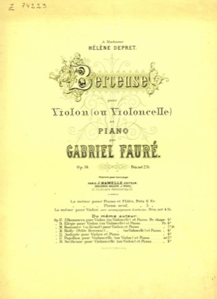 Thumbnail of first page of Berceuse, Op.16 piano sheet music PDF by Faure.