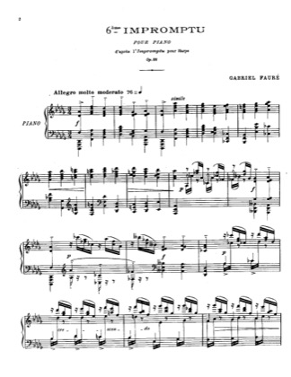 Thumbnail of first page of Impromptu No.6, Op.86 piano sheet music PDF by Faure.