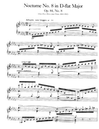 Thumbnail of first page of Nocturne No.8, Op.84 piano sheet music PDF by Faure.