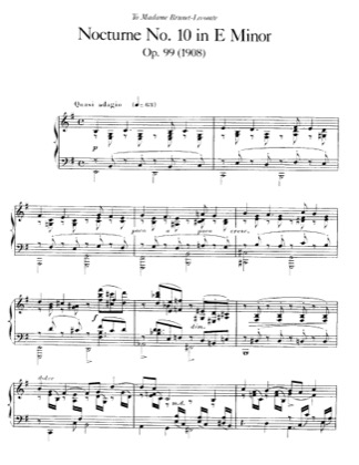 Thumbnail of first page of Nocturne No.10, Op.99 piano sheet music PDF by Faure.