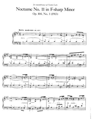 Thumbnail of first page of Nocturne No.11, Op.104 piano sheet music PDF by Faure.