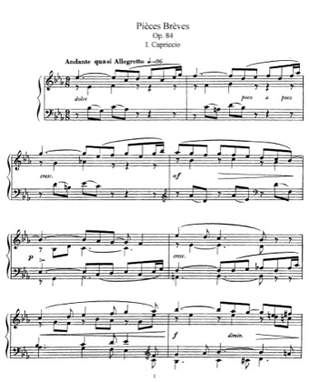 Thumbnail of first page of Pieces Breves, Op.84 piano sheet music PDF by Faure.