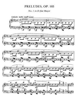 Thumbnail of first page of Preludes, Op.103 piano sheet music PDF by Faure.
