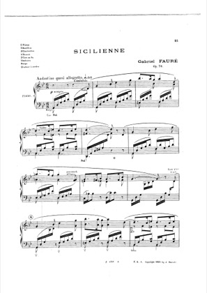 Thumbnail of first page of Sicilienne, Op.78 piano sheet music PDF by Faure.