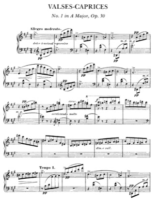 Thumbnail of first page of Valse Caprice No.1 Op.30 piano sheet music PDF by Faure.