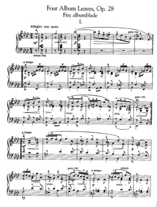 Thumbnail of first page of 4 Album Leaves, Op.28 piano sheet music PDF by Grieg.