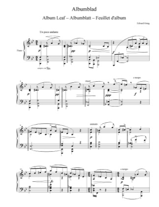 Thumbnail of first page of Album Leaf, EG 109 piano sheet music PDF by Grieg.