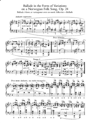 Thumbnail of first page of Ballade, Op.24 piano sheet music PDF by Grieg.
