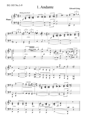 Thumbnail of first page of 9 Childrens Pieces, EG 103 piano sheet music PDF by Grieg.