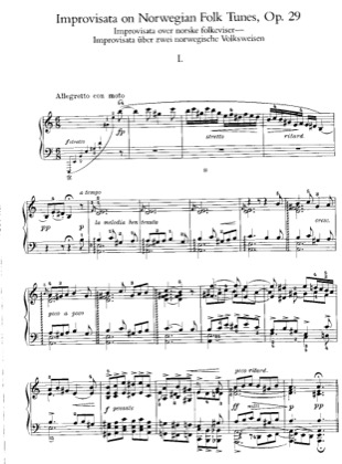 Thumbnail of first page of Improvisations on 2 Norwegian Folk Song,s, Op.29 piano sheet music PDF by Grieg.
