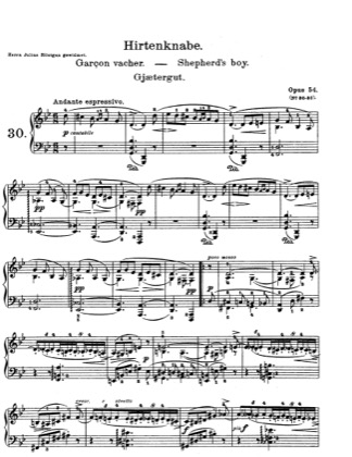 Thumbnail of first page of Lyric Pieces, Op.54 piano sheet music PDF by Grieg.