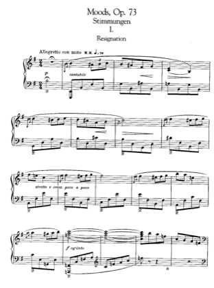 Thumbnail of first page of Moods, Op.73 piano sheet music PDF by Grieg.
