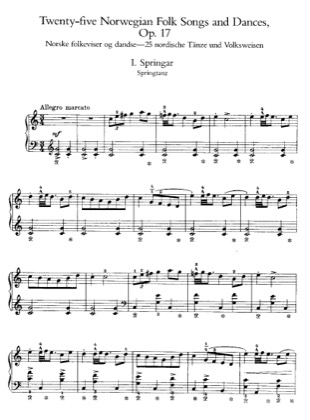 Thumbnail of first page of 25 Norwegian Folk Songs and Dances, Op.17 piano sheet music PDF by Grieg.