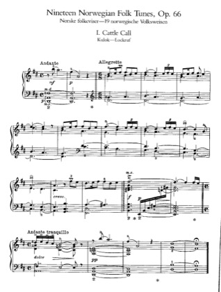 Thumbnail of first page of 19 Norwegian Folk Tunes, Op.66 piano sheet music PDF by Grieg.