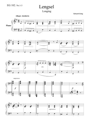Thumbnail of first page of 3 Piano Pieces, EG 102 piano sheet music PDF by Grieg.