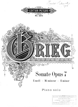 Thumbnail of first page of Sonata in E minor, Op.7 piano sheet music PDF by Grieg.