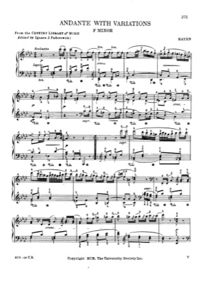Thumbnail of first page of Andante with Variations in f minor piano sheet music PDF by Haydn.
