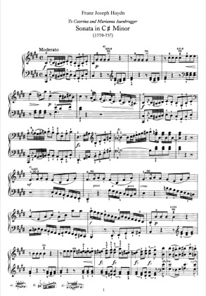 Thumbnail of first page of Sonata No.36 in c sharp minor piano sheet music PDF by Haydn.