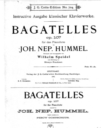 Thumbnail of first page of Bagatelles, Op.107 piano sheet music PDF by Hummel.