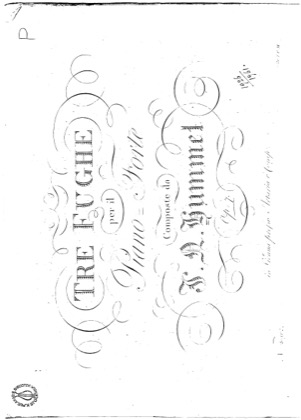 Thumbnail of first page of Three fugues for piano, Op.7 piano sheet music PDF by Hummel.