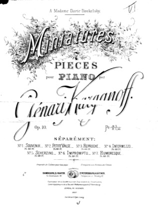 Thumbnail of first page of Miniatures, Op.10 piano sheet music PDF by Korganov.