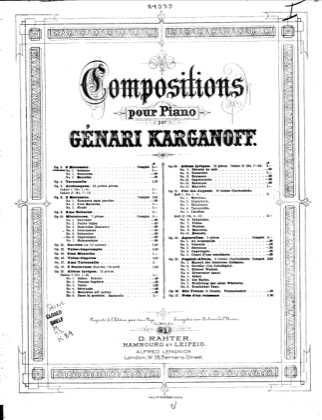 Thumbnail of first page of 3 Morceaux, Op.3 piano sheet music PDF by Korganov.