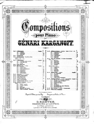 Thumbnail of first page of Tarantelle No.1, Op.4 piano sheet music PDF by Korganov.