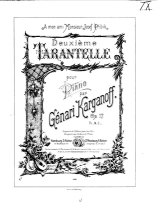Thumbnail of first page of Tarantelle No.2, Op.17 piano sheet music PDF by Korganov.