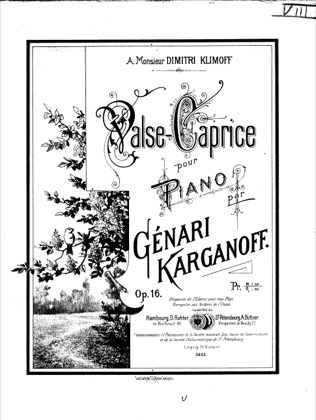 Thumbnail of first page of Valse-Caprice, Op.16 piano sheet music PDF by Korganov.