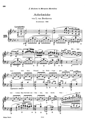 Thumbnail of first page of Adelaude, by Beethoven, S.466 piano sheet music PDF by Liszt.