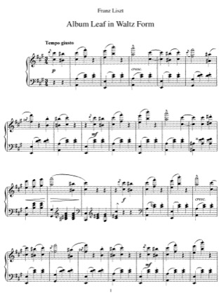 Thumbnail of first page of Album Leaf in Waltz Form, S.166 piano sheet music PDF by Liszt.