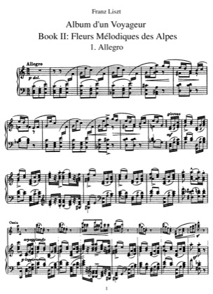Thumbnail of first page of Book II: Fleurs Melodiques des Alpes, S.156/2 piano sheet music PDF by Liszt.