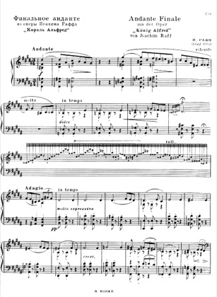 Thumbnail of first page of Andante Finale and March (opera Koning Alfred), S.421 piano sheet music PDF by Liszt.