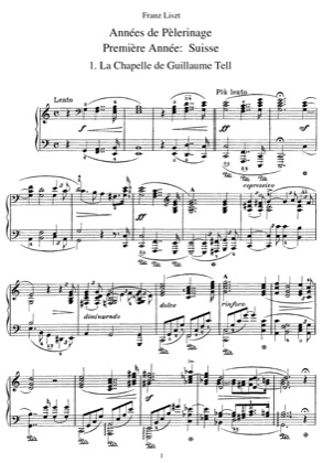 Thumbnail of first page of Premiere Annee: Suisse, S.160 piano sheet music PDF by Liszt.