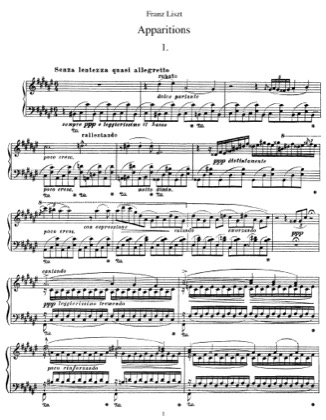 Thumbnail of first page of Apparitions, S.155 piano sheet music PDF by Liszt.