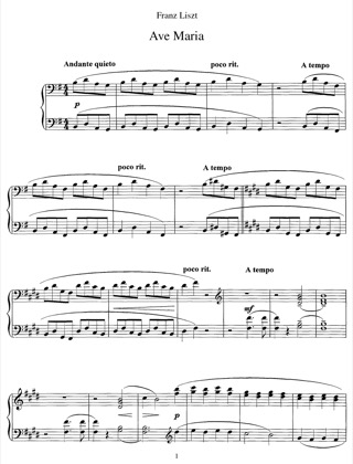 Thumbnail of first page of Ave Maria IV, S.545 piano sheet music PDF by Liszt.