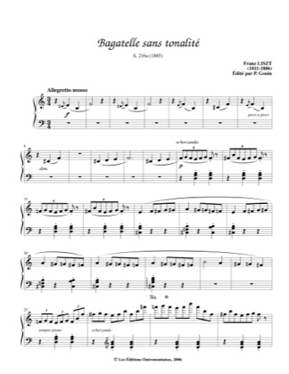 Thumbnail of first page of Bagatelle sans tonalite, S.216a piano sheet music PDF by Liszt.