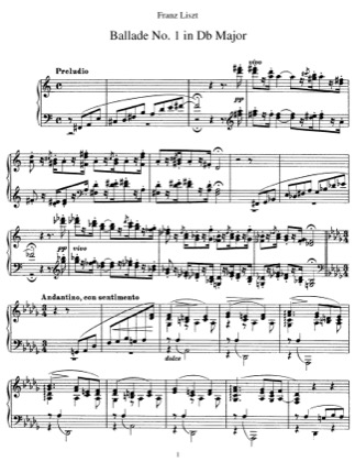 Thumbnail of first page of Ballade No.1, S.170 piano sheet music PDF by Liszt.