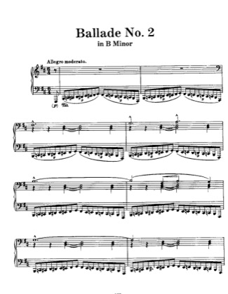 Thumbnail of first page of Ballade No.2, S.171 piano sheet music PDF by Liszt.
