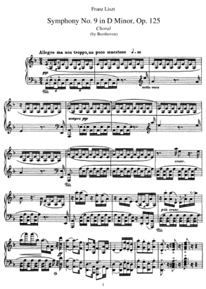 Thumbnail of first page of Symphony No.9 in D minor (Choral), Op.125 (S.464/9) piano sheet music PDF by Liszt.