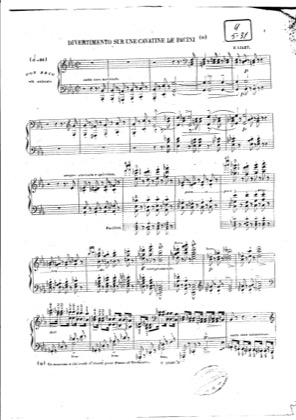 Thumbnail of first page of Divertissement sur une Cavatine de Pacini, S.419 piano sheet music PDF by Liszt.