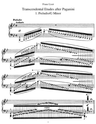 Thumbnail of first page of Etudes d'execution transcendante (Paganini), S.140 piano sheet music PDF by Liszt.